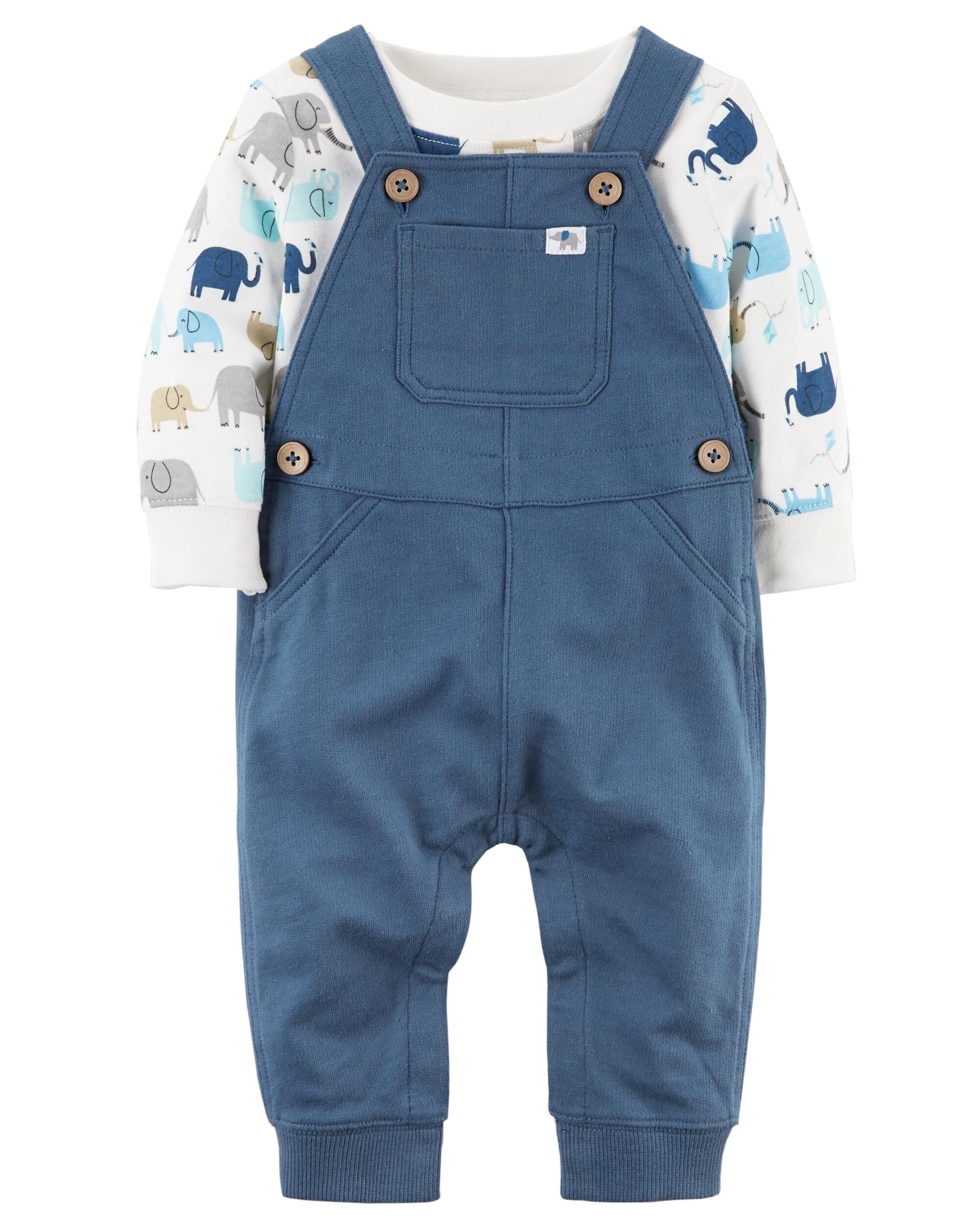 2 Piece Elephant Bodysuit & French Terry Overall Set