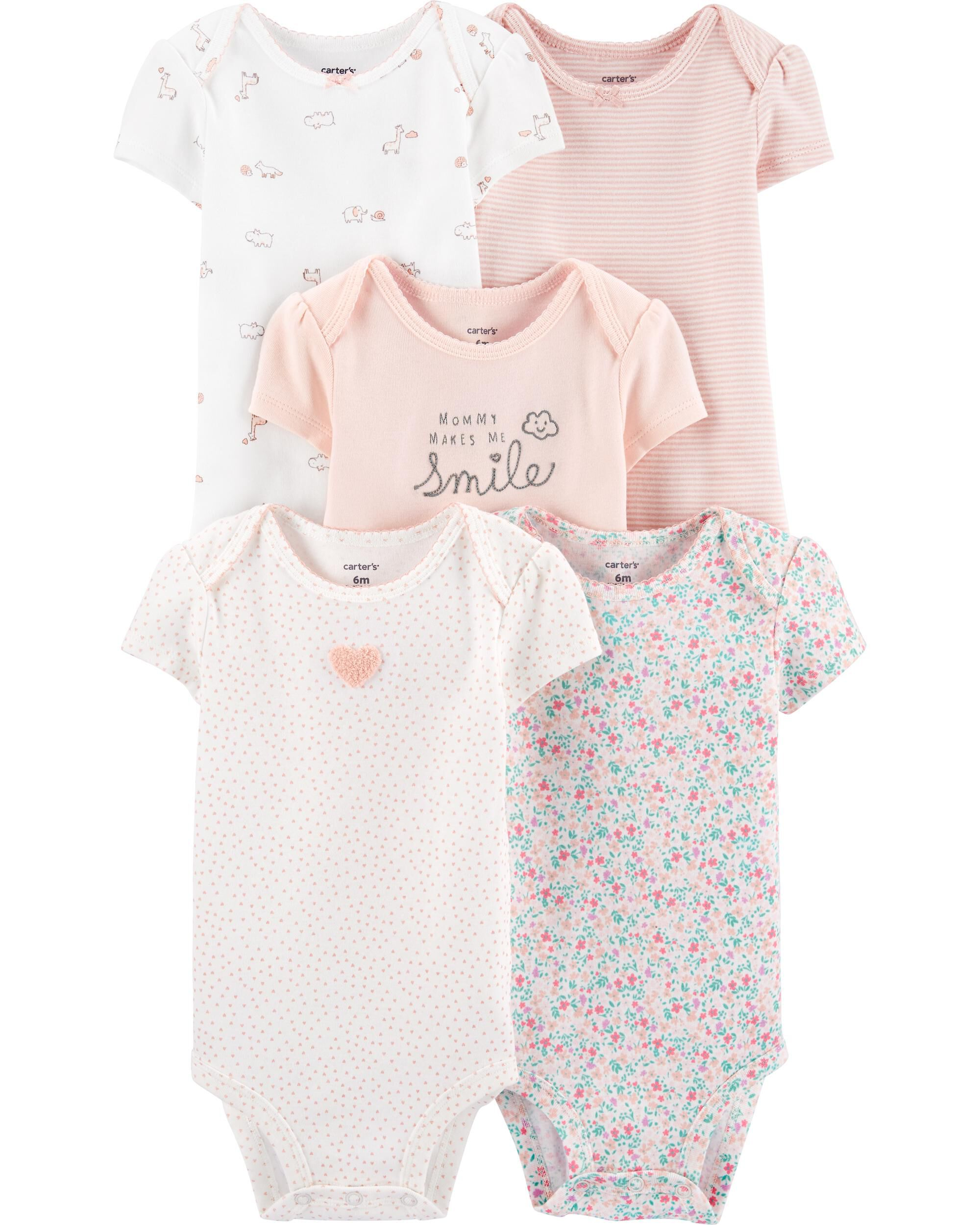 New Carter/'s 4 Pack Pointelle Girls Bodysuits Tops NWT NB Newborn Solid Colors