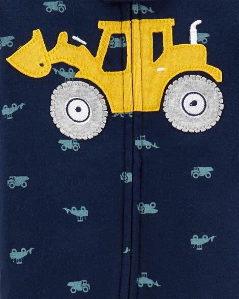 1-Piece Construction Snug Fit Cotton Footie PJs