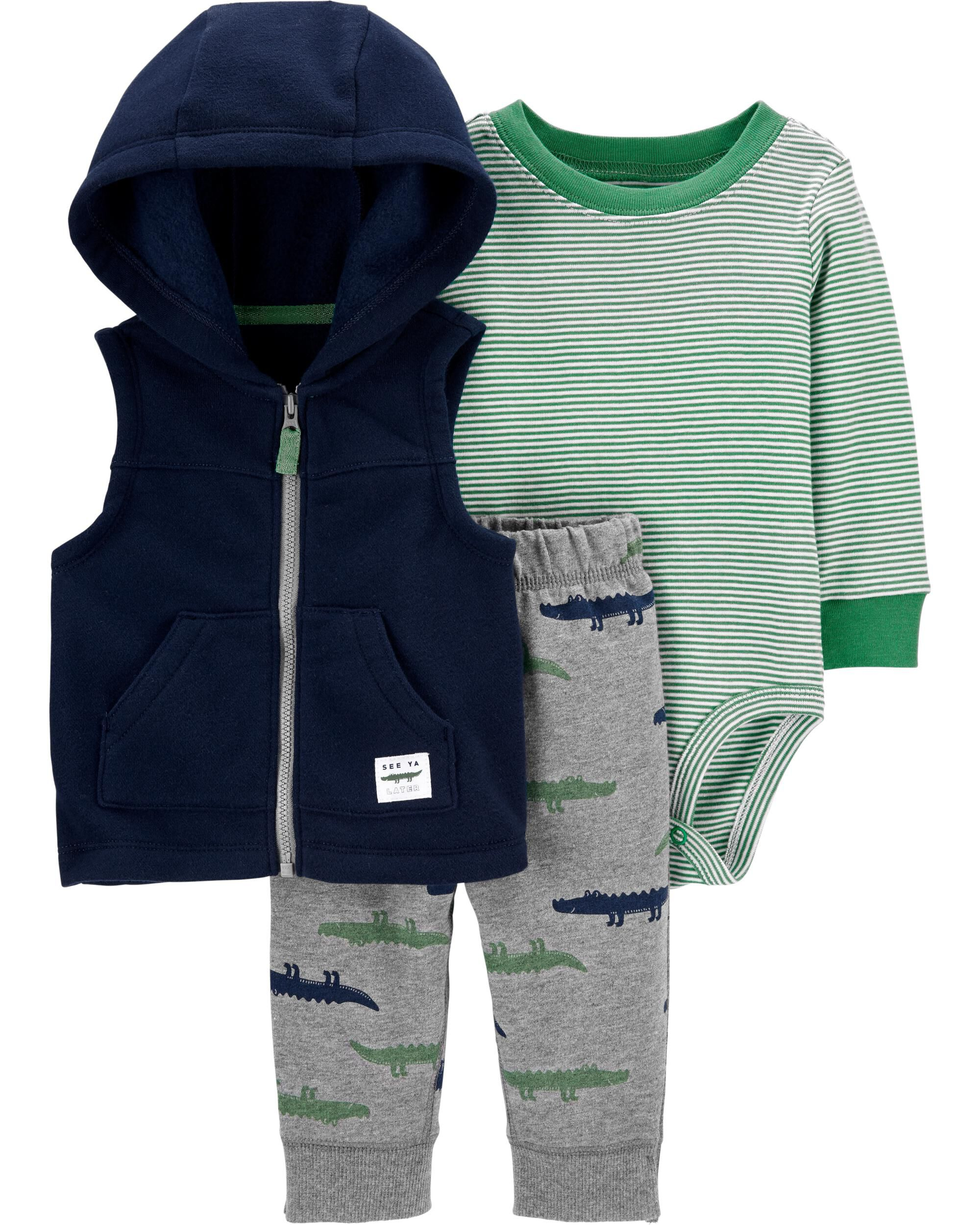 Carter/'s Baby Boy Hooded Sweat Jacket ~ Heather Gray ~ Green ~ Navy Blue ~