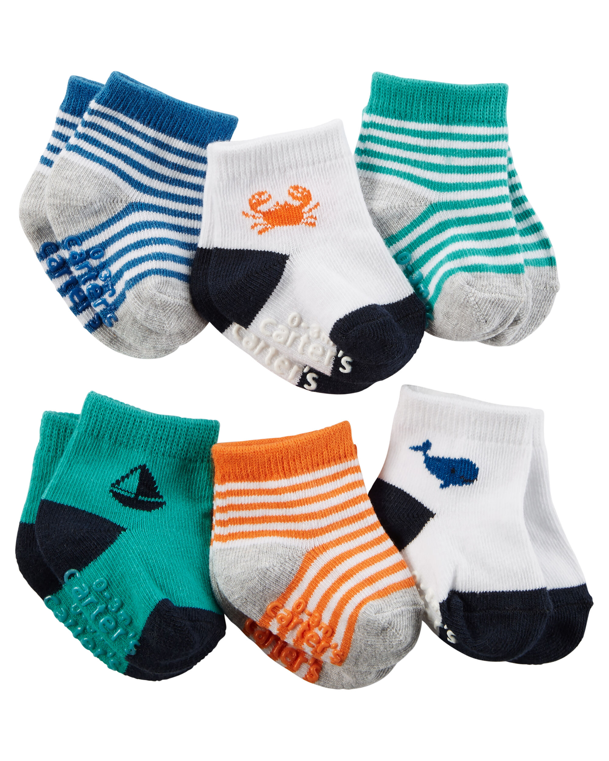 6 Pack Striped Socks