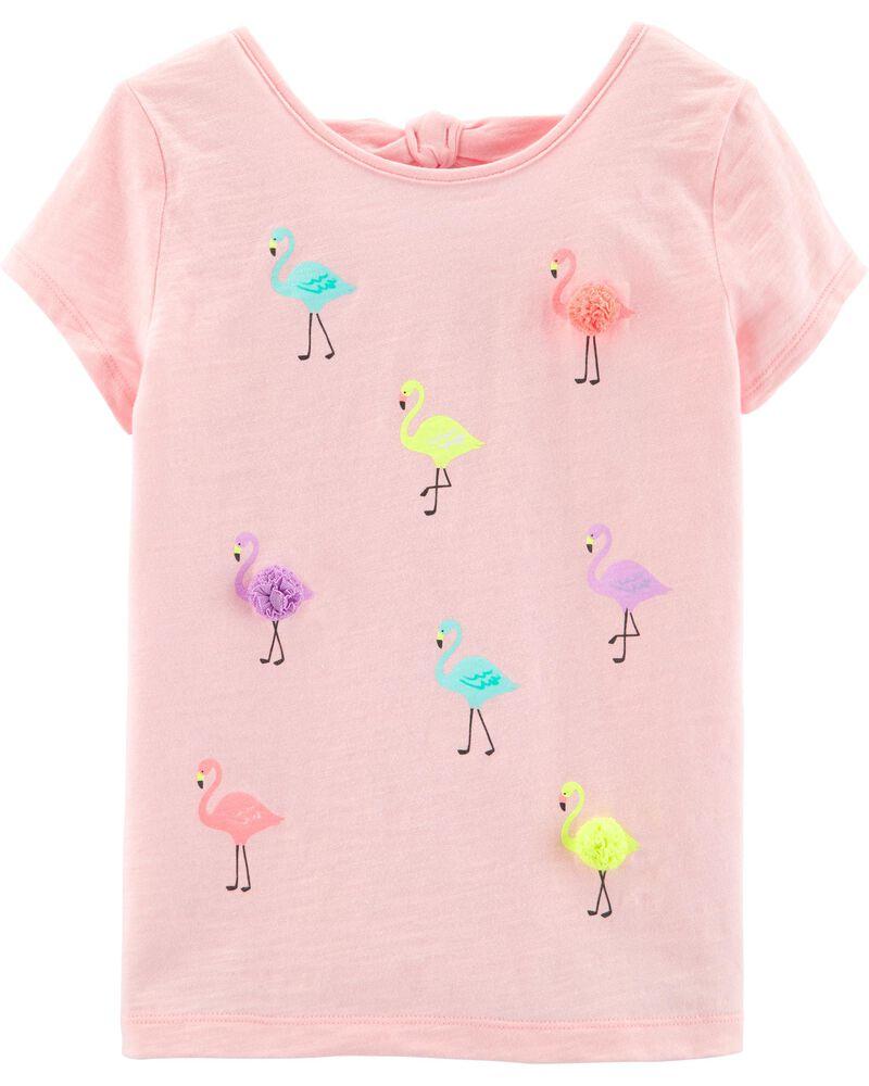 scallop monogram shirt Flamingo outfit pompom shorts flamingo birthday girls pompom shorts set flamingo party flamingo pompom shorts