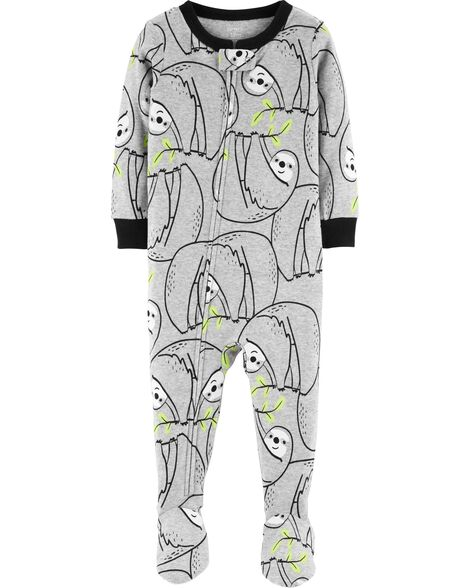 3fbd3f1d5 1-Piece Sloth Footed Snug Fit Cotton PJs