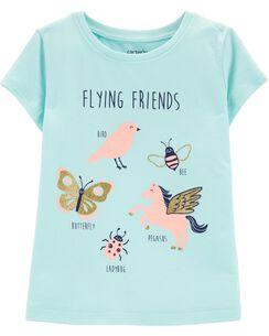 dd86fe021d0 Short-Sleeve. Glitter Flying Friends Jersey Tee