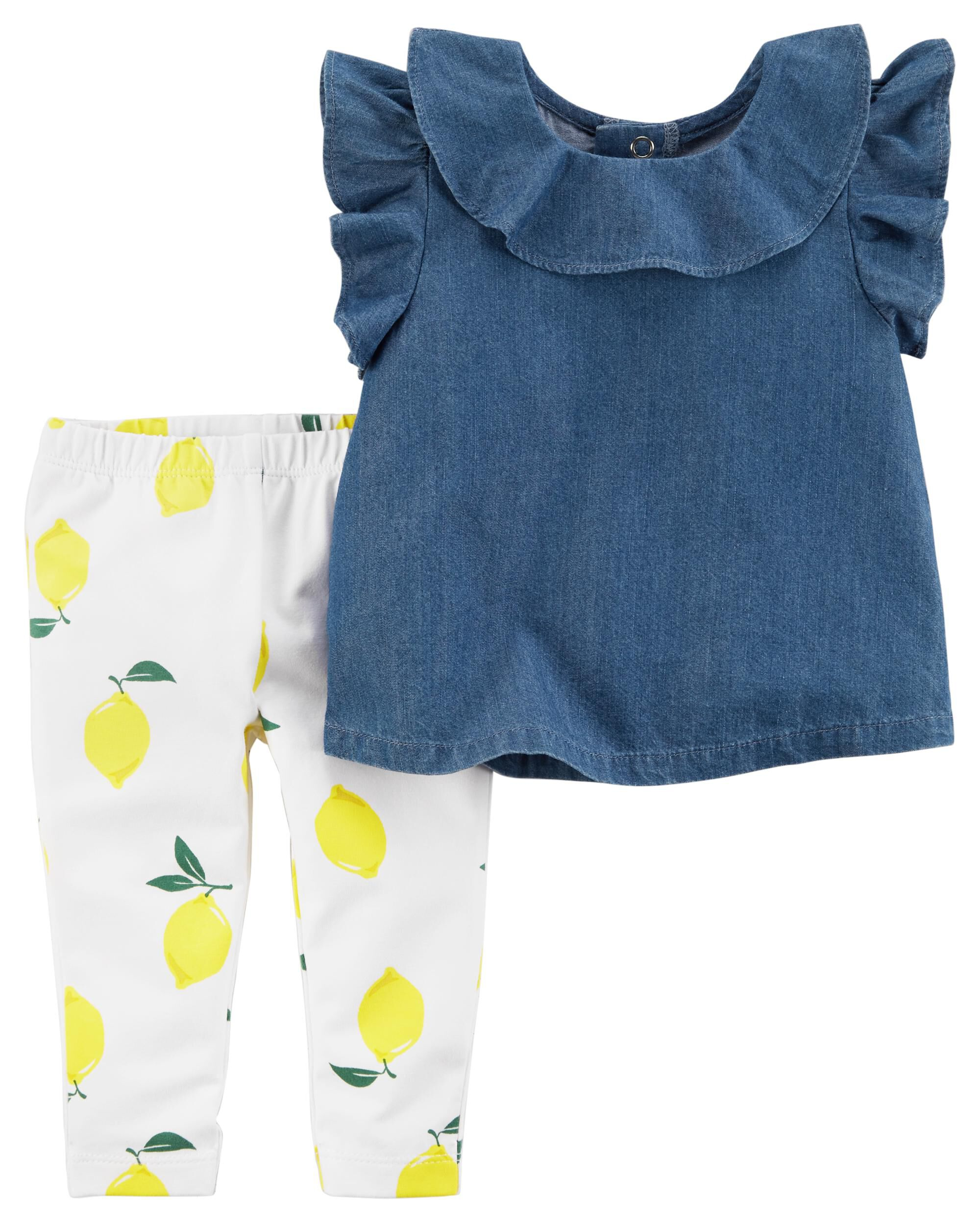 501859690e8d81 Clothing Sets Carters Baby Girls 2-Piece Denim Tunic and Printed Leggings  Set Clothing & Accessories