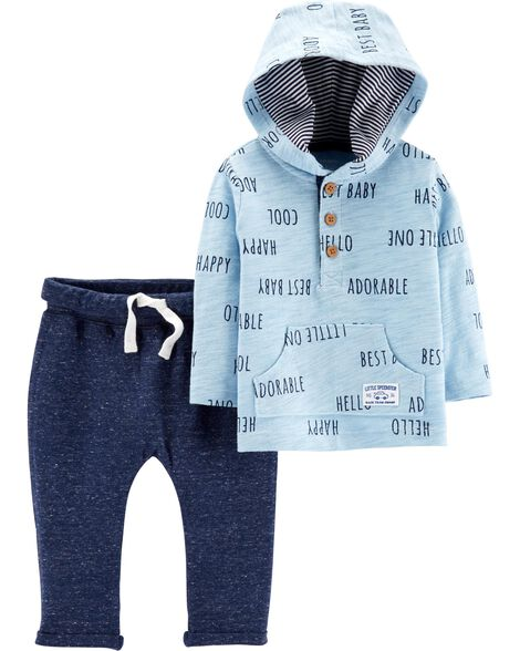 2-Piece Slub Jersey Hoodie & Doubleknit Pant Set