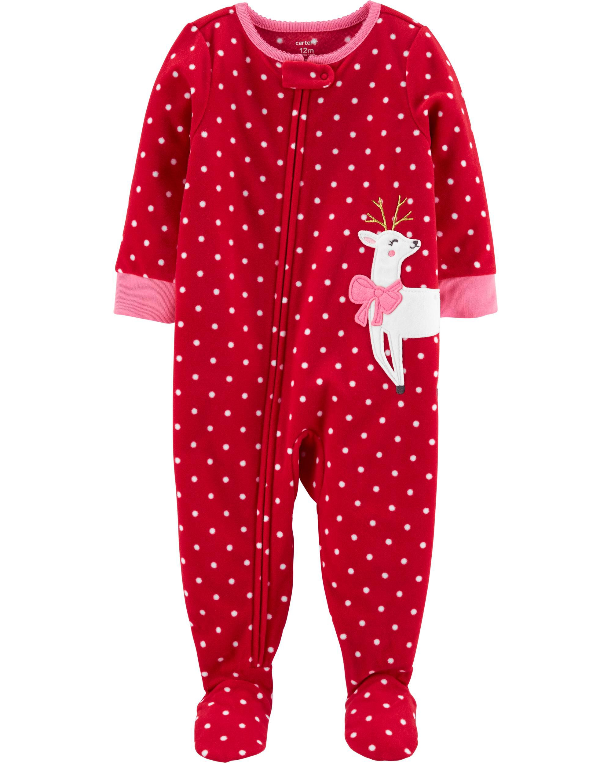 *CLEARANCE* 1-Piece Reindeer Fleece Footie PJs