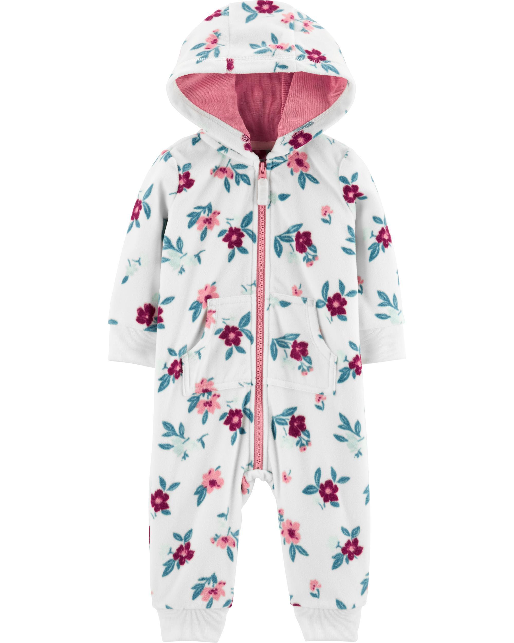 *DOORBUSTER* Hooded Floral Fleece Jumpsuit