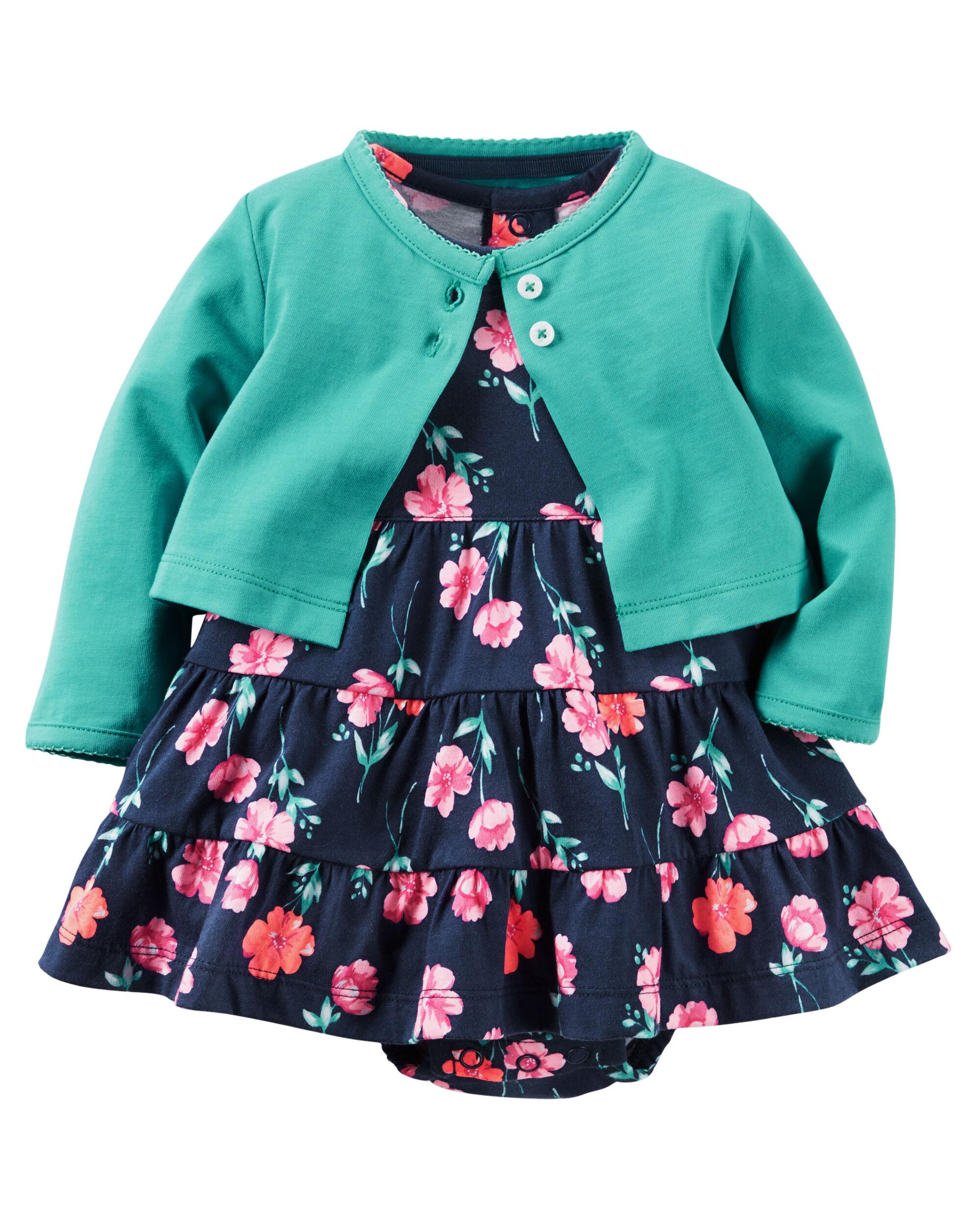 2-Piece Bodysuit Dress & Cardigan Set | Carters.com