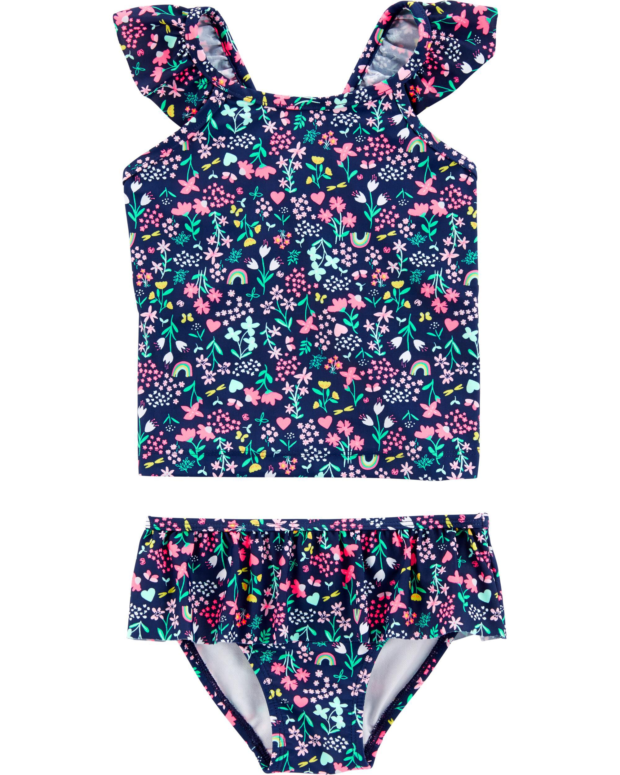 6 Months Carters Baby Girls 2 Piece Flower Swimsuit /& Cover-up Set