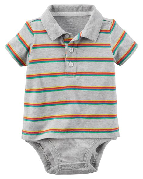 2190aed9a Striped Double-Decker Polo Bodysuit | Carters.com