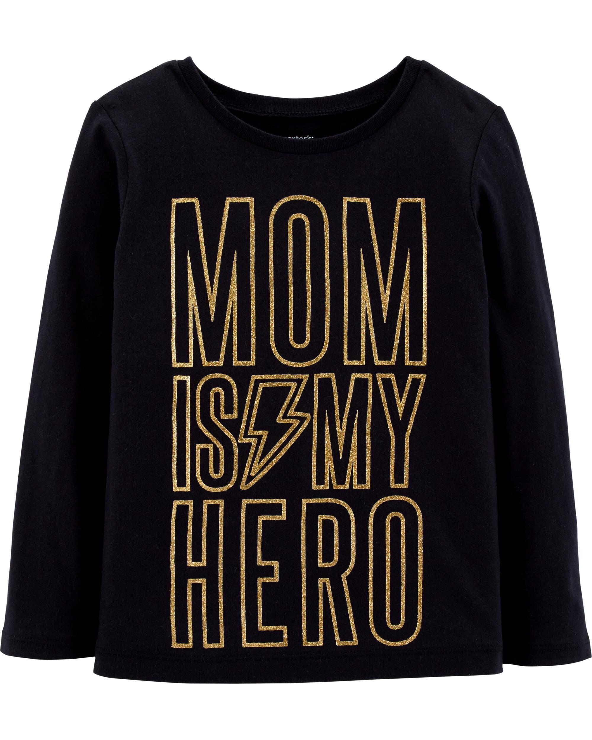 Mom Is My Hero Glitter Jersey Tee
