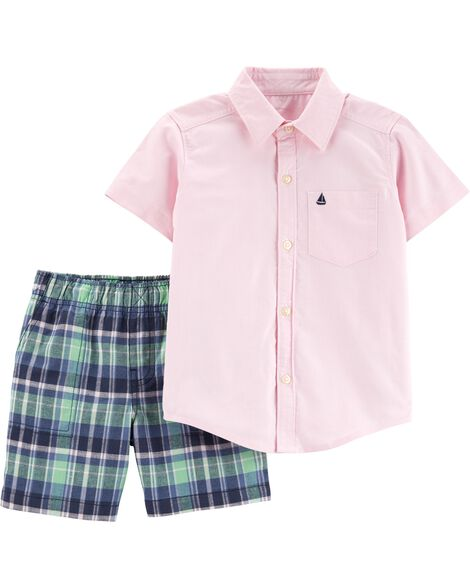 79baac144 2-Piece Oxford Button-Front   Plaid Short Set