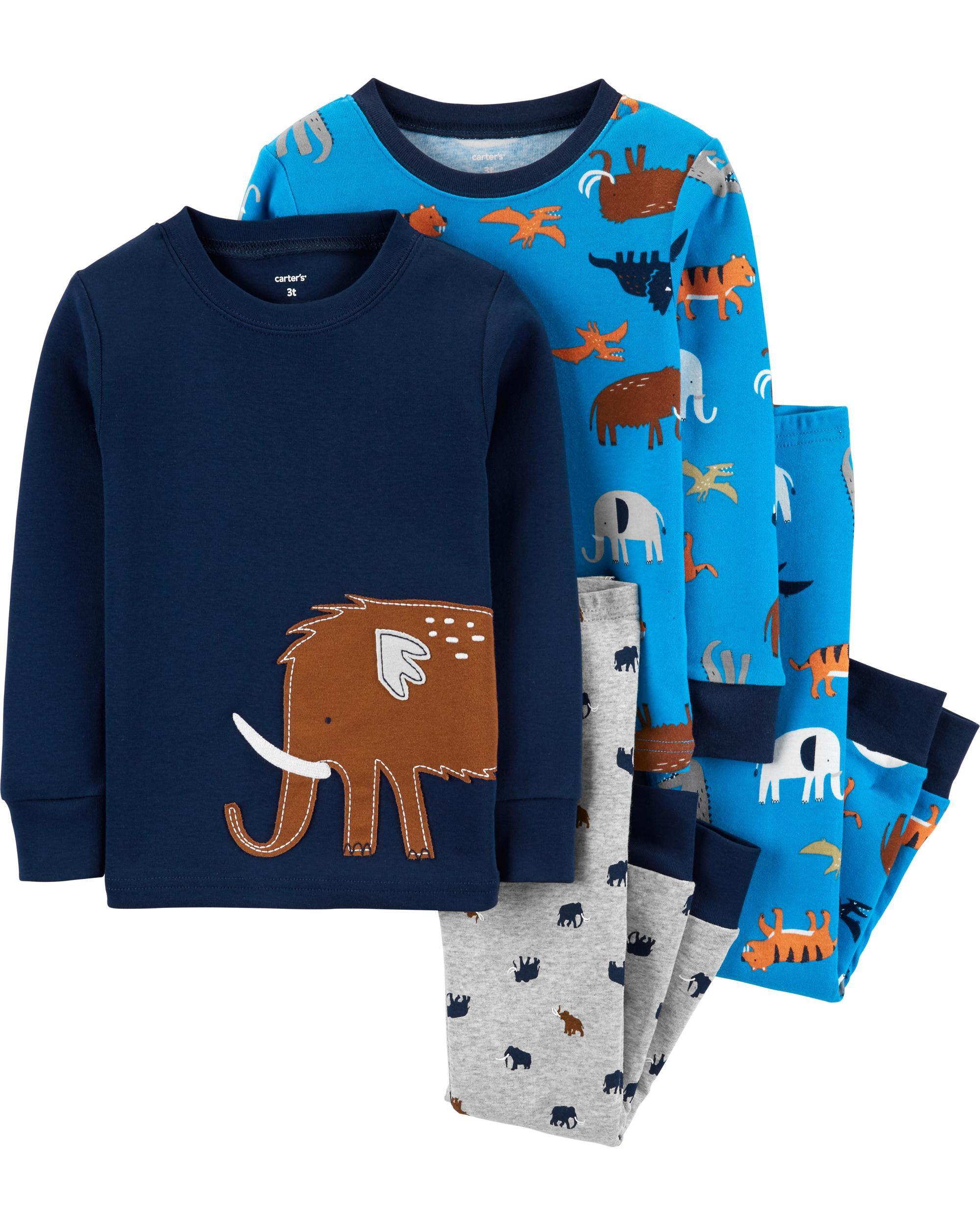 4-Piece Animals Snug Fit Cotton PJs