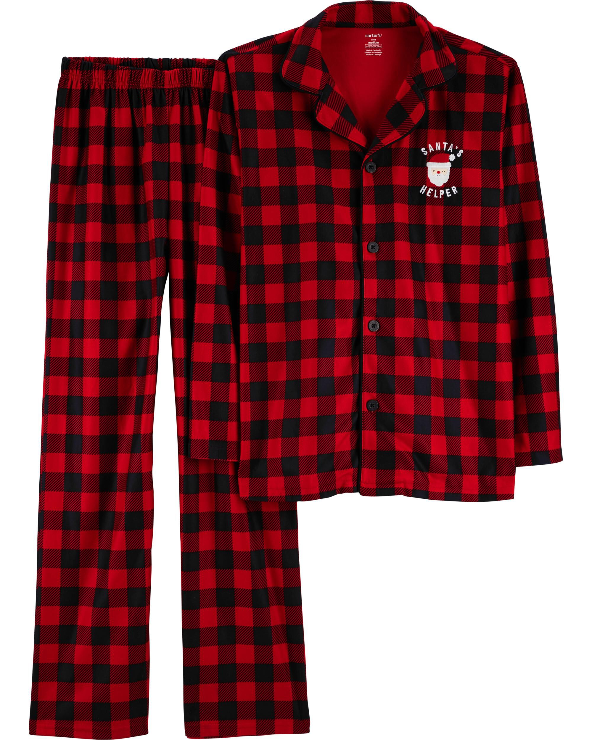 Santa Red and White Gingham Kids Christmas Boys Pajamas Lightweight Fabric