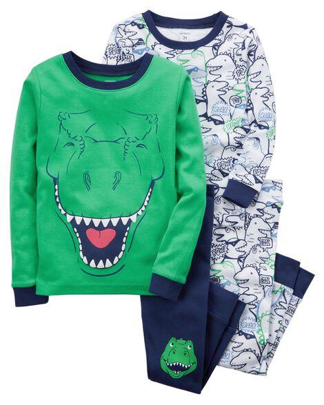 9c61bc665d57 4-Piece Dinosaur Snug Fit Cotton PJs