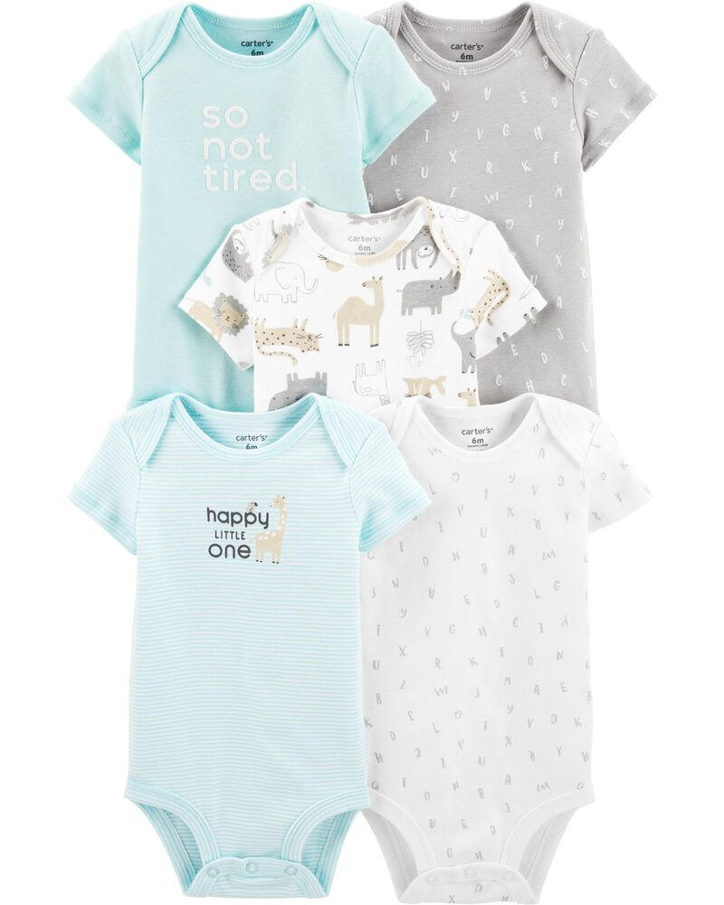 Carters Baby Unisex 4 Pack Bodysuit Set Animals Grey//Ivory Preemie