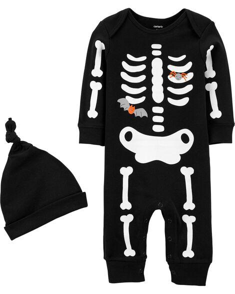 18035d905 2-Piece Glow Skeleton Jumpsuit & Hat Set | Carters.com