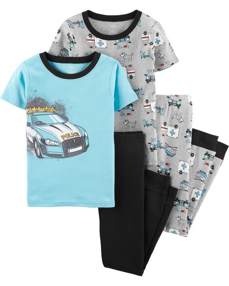 4-Piece Police Car Snug Fit Cotton PJs