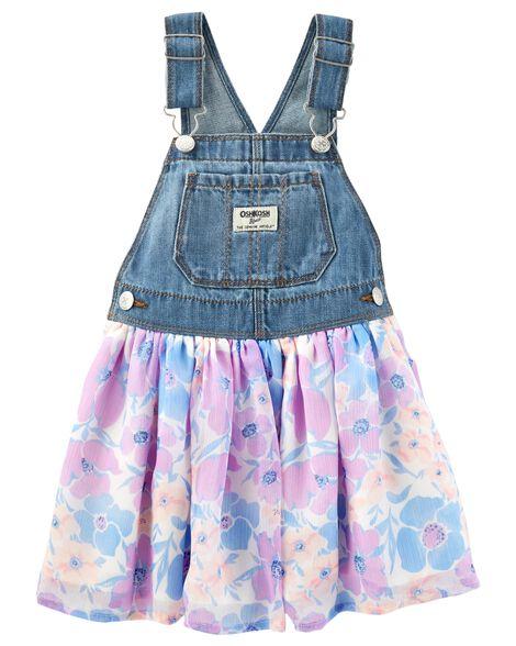 b1fbf336b89d Toddler Girl Floral Denim Jumper