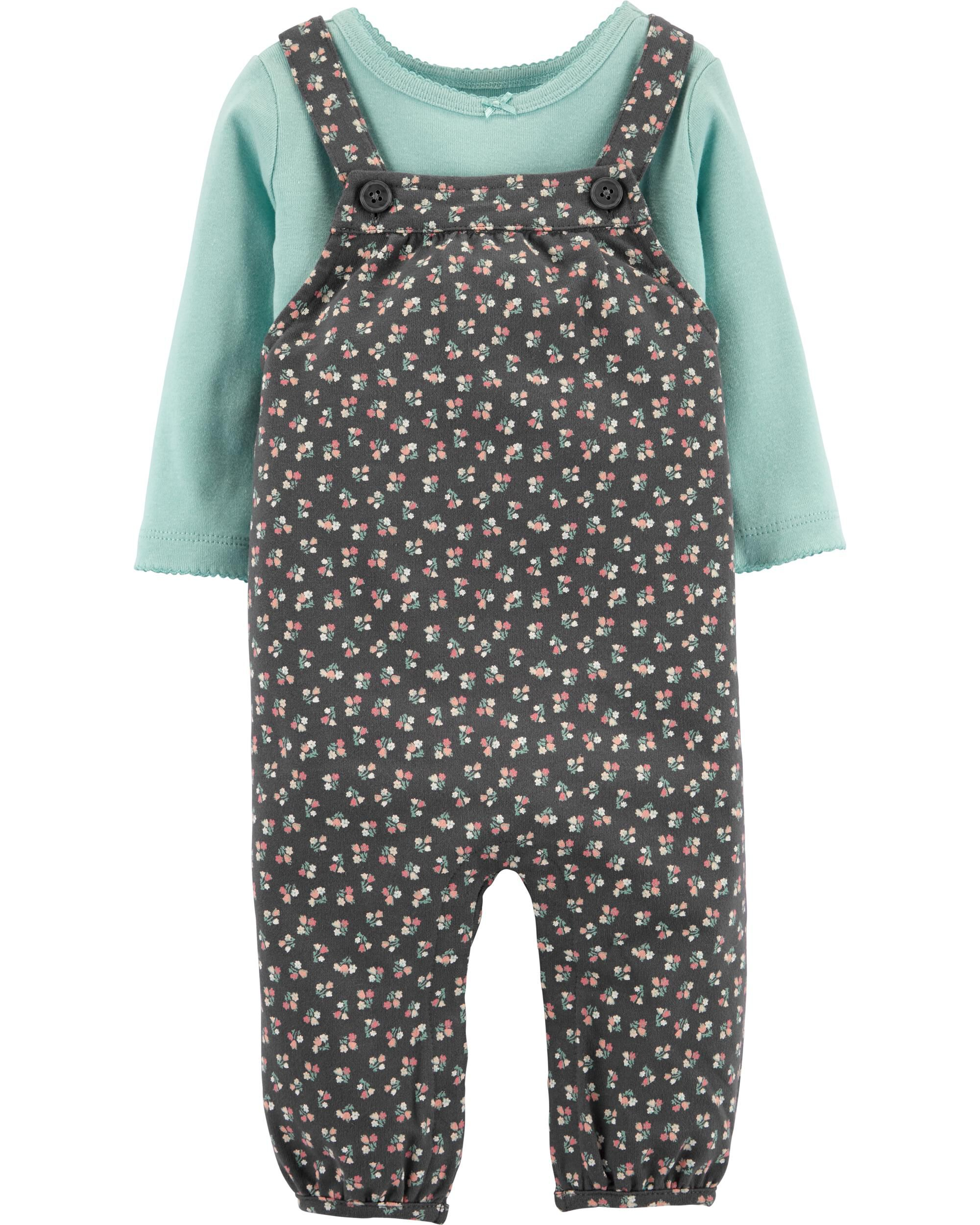 *CLEARANCE* 2-Piece Tee & Floral Knit Overalls Set