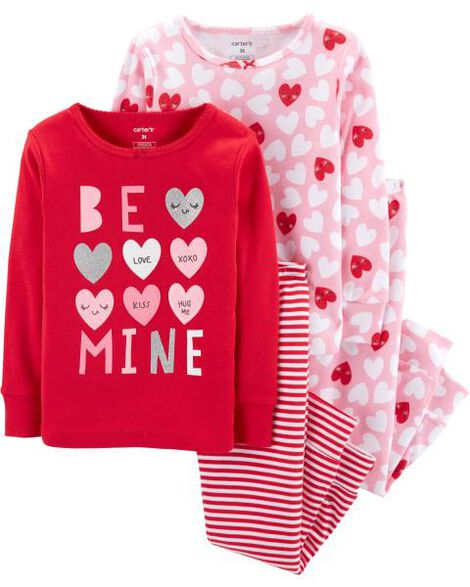 4-Piece Valentine's Day Snug Fit Cotton PJs