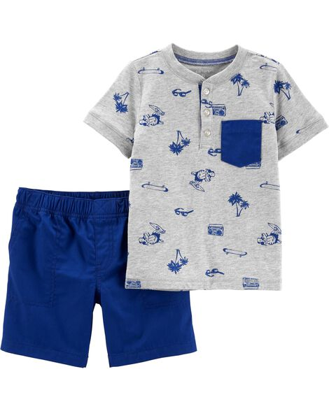 2-Piece Beach Henley & Poplin Short Set