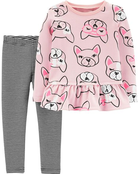 2-Piece French Bulldog Ruffle Top & Striped Legging Set
