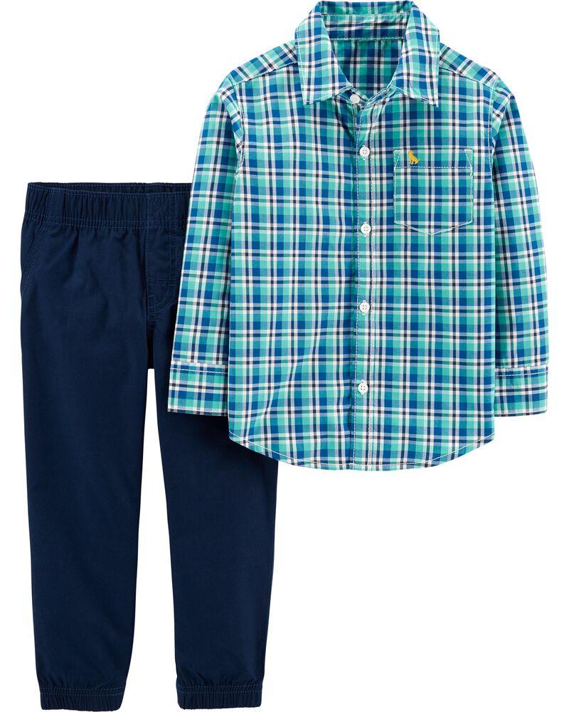 Sizes 3M 6M 9M 12M Carter/'s Baby Boys/' 2 Piece Long-Sleeve Navy Plaid Pant Set