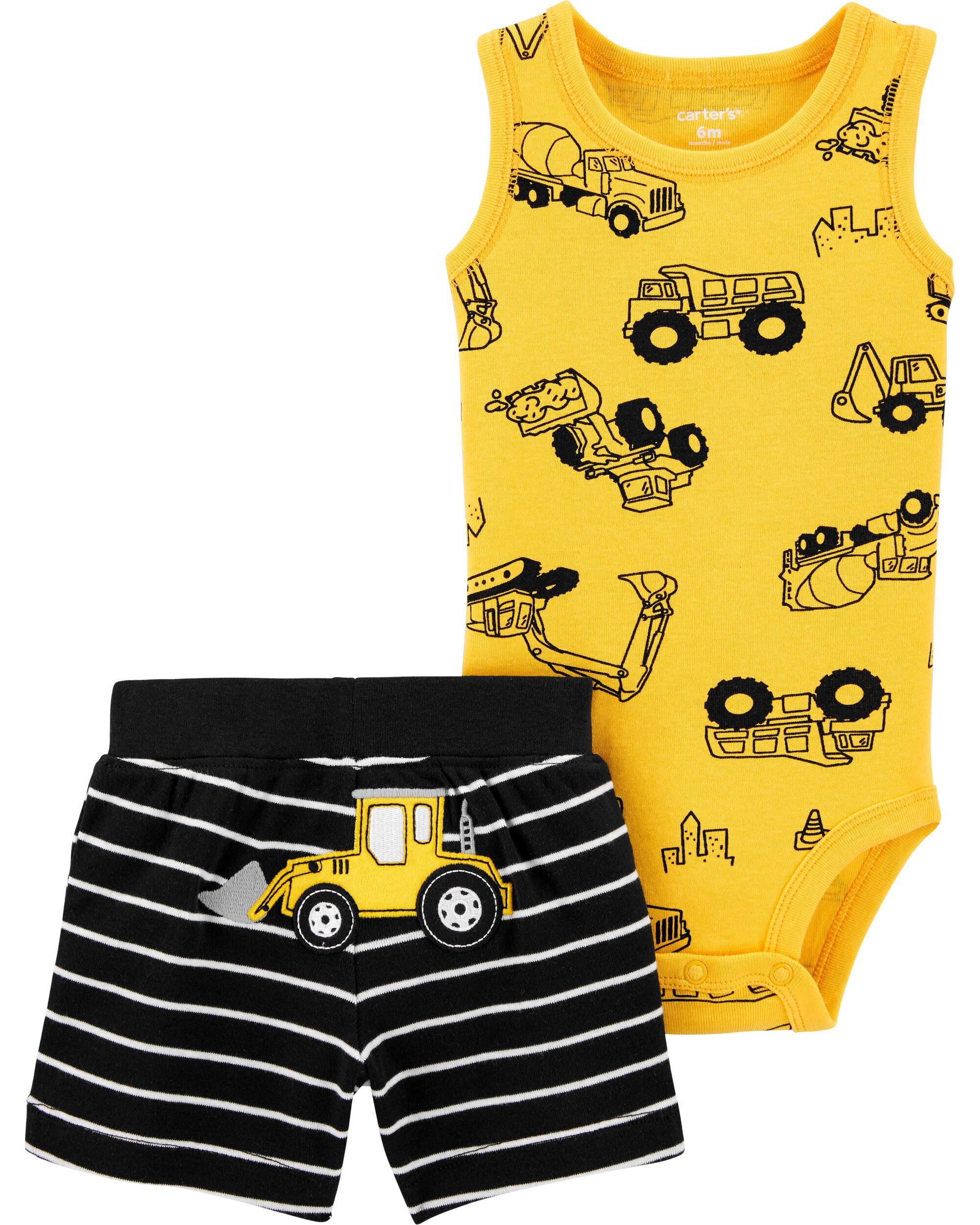Badger Design Baby Boy Dungarees and Top Set