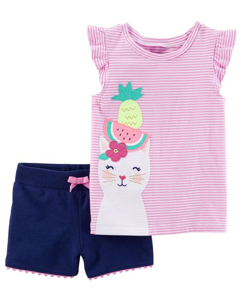 2-Piece Kitty Flutter-Sleeve Top & French Terry Short Set