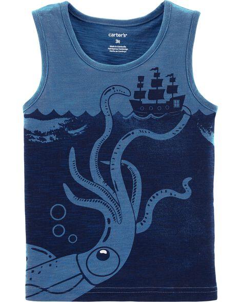 Pirate Ship Squid Slub Jersey Tank