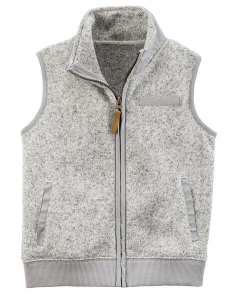 d13d33ad51493 Zip-Up Sweater-Faced Vest   Carters.com