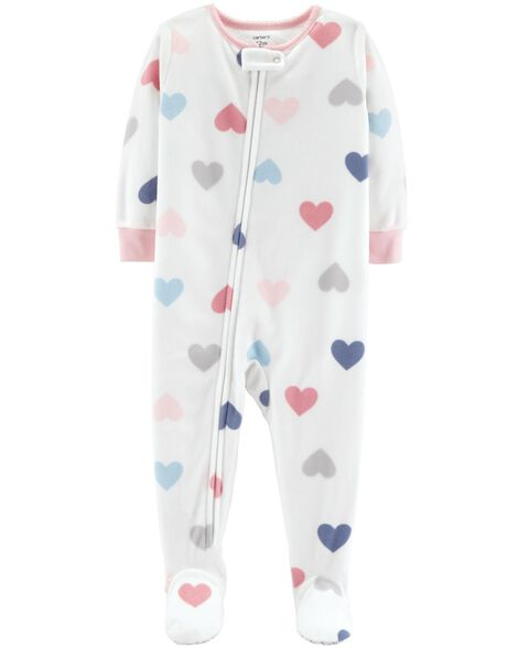 0326b6afabfb 1-Piece Heart Fleece PJs
