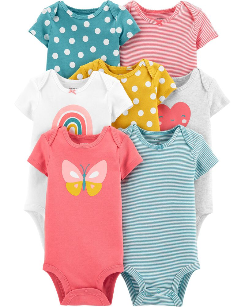 9 Months, Hello//Yellow//Blue Carters Unisex-Baby 4-Pack Long Sleeve Bodysuits