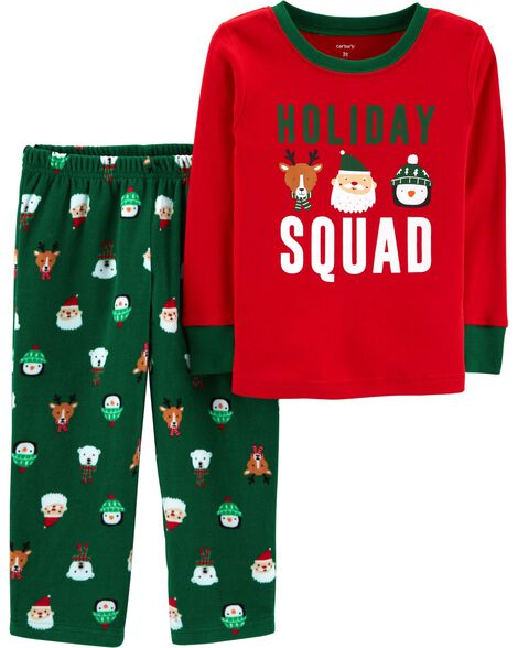66233228a1 2-Piece Kid Christmas Cotton   Fleece PJs ...