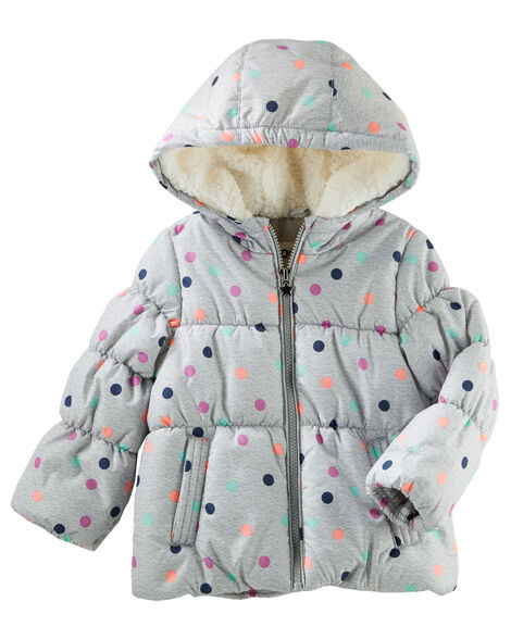 3fd3f32ae Toddler Girl Hooded Heavyweight Bubble Jacket
