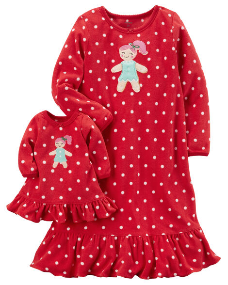 c7f22e504 Fleece Gown   Doll Dress Set