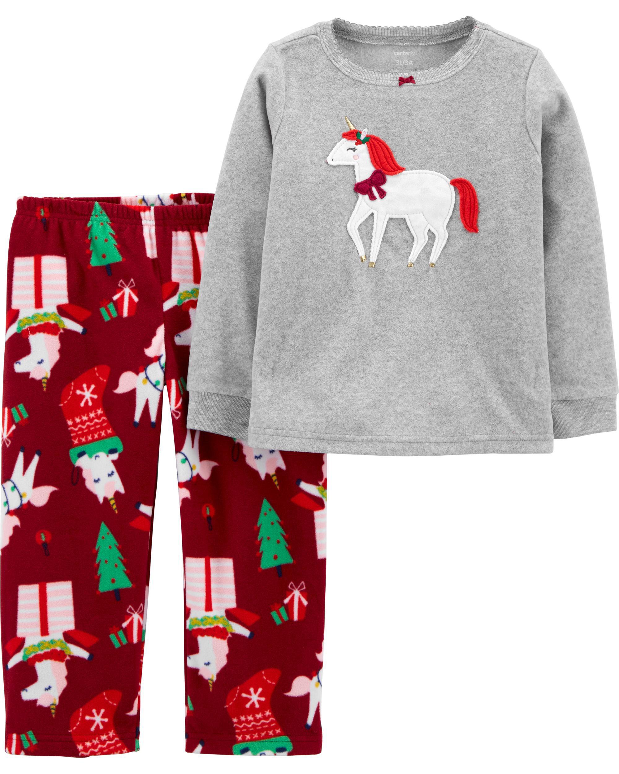 *CLEARANCE* 2-Piece Unicorn Christmas Fleece PJs