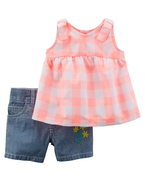 2-Piece Neon Checkered Tunic & Embroidered Chambray Short Set