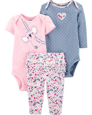 New Carters Baby Girl 3-Piece Strawberry Little Character Set 3 6 9 12 18