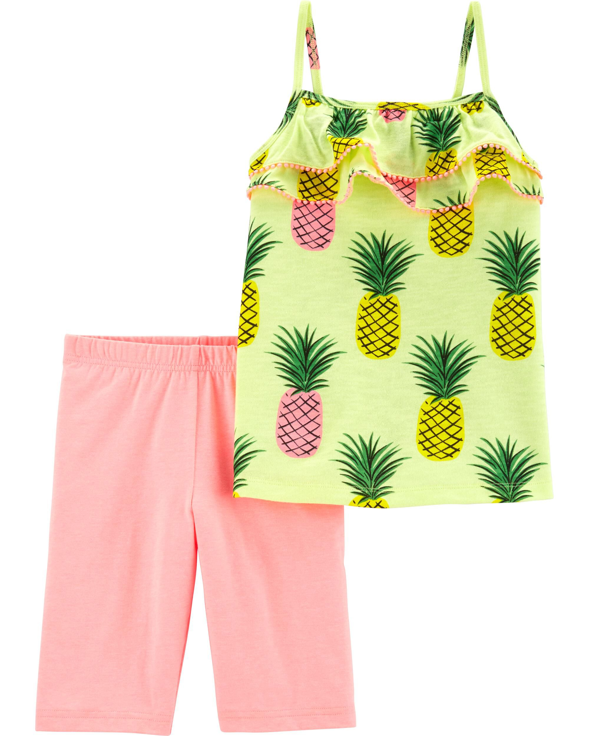 *CLEARANCE* 2-Piece Neon Pineapple Tank & Tumbling Short Set