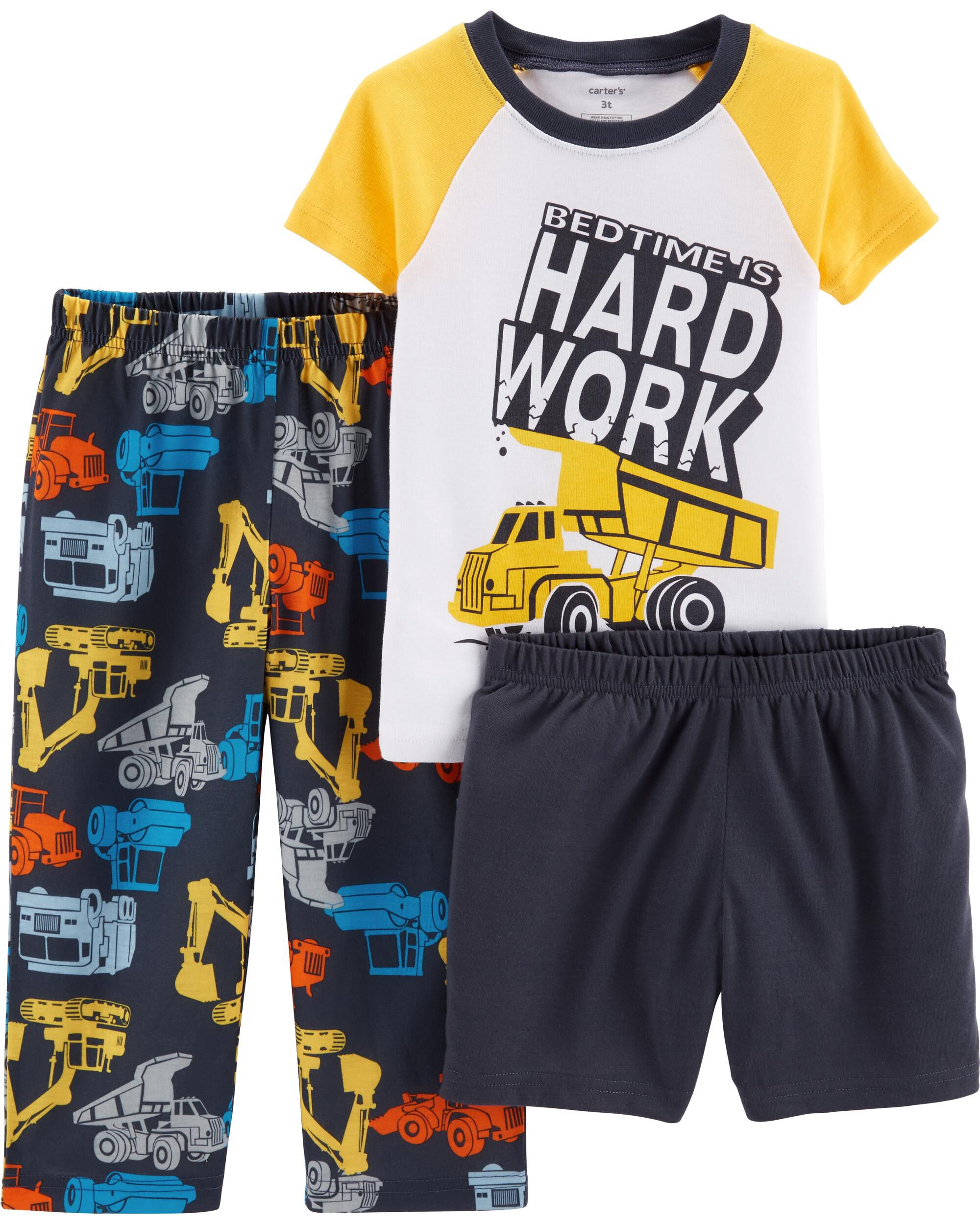 NWT Carter/'s Boys 3T 4T 5T 3-Piece Bedtime is Hard Work Construction Pajama PJs