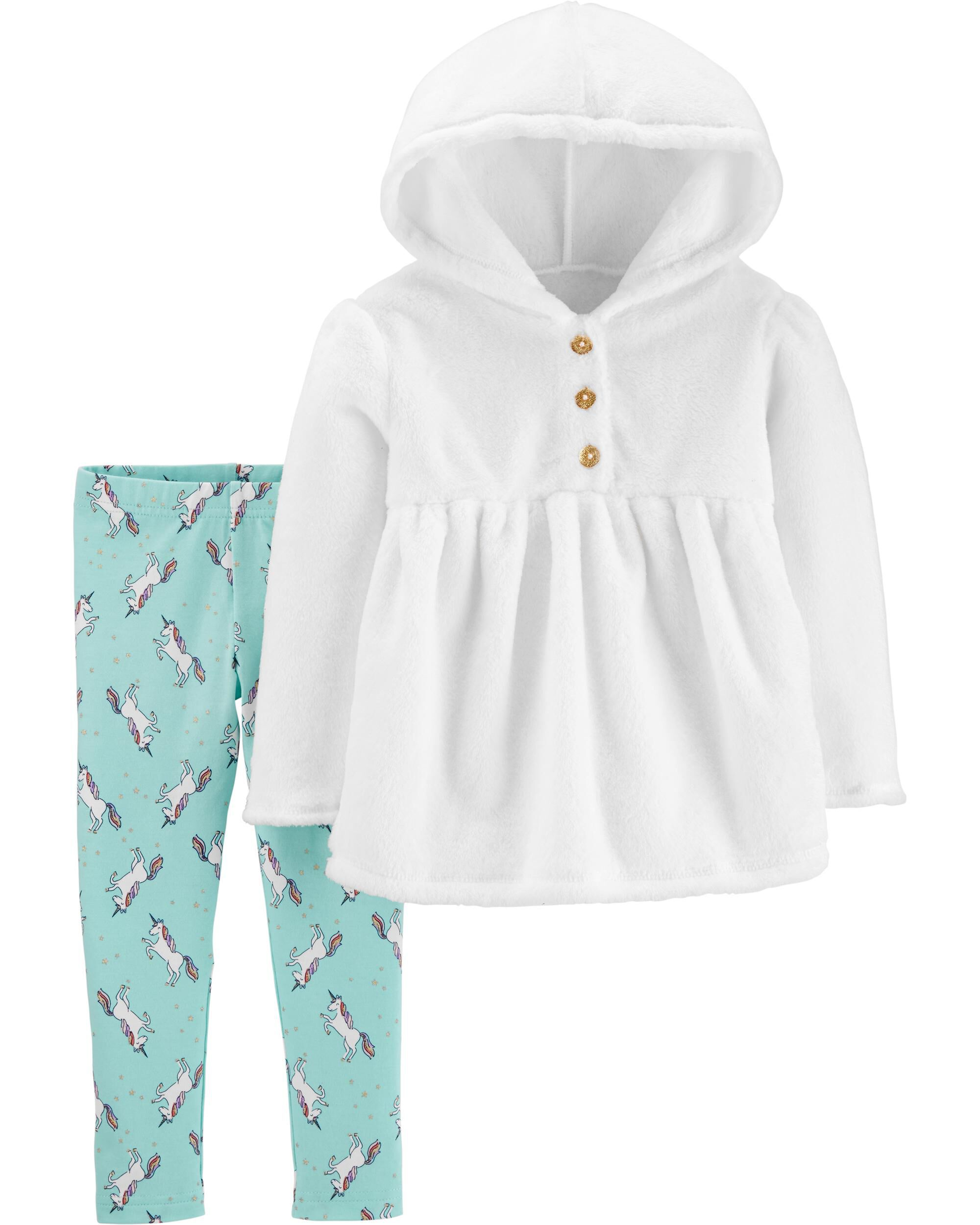 *CLEARANCE* 2-Piece Fuzzy Hooded Top & Unicorn Legging Set