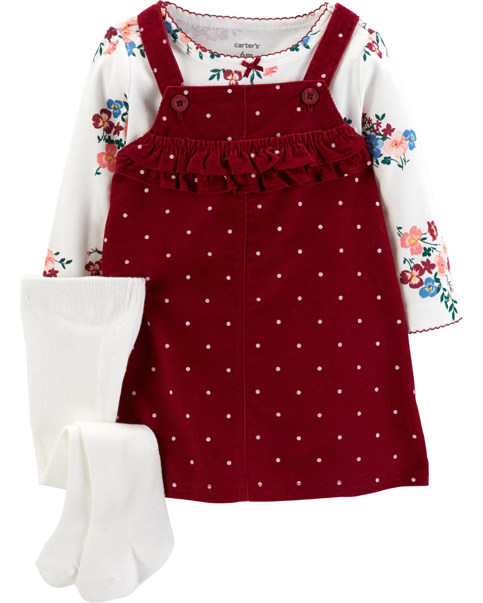 14c47b176fb2 Carters Girl 2-Piece White Tee    Pink Polka Dot Bear Shortalls Set ...