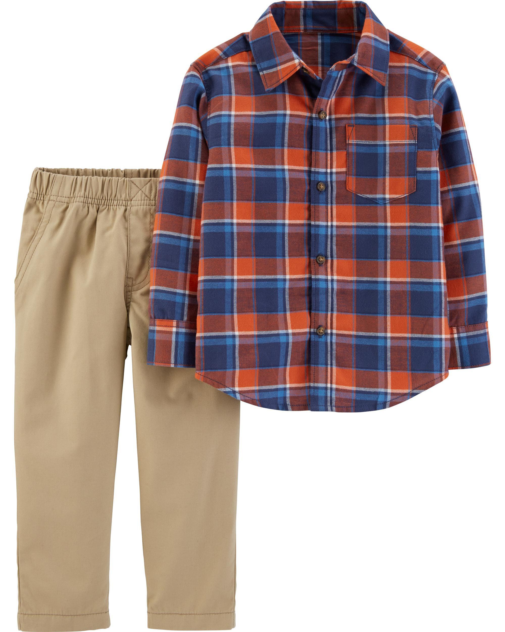 *CLEARANCE* 2-Piece Plaid Button-Front Top & Khaki Pant Set