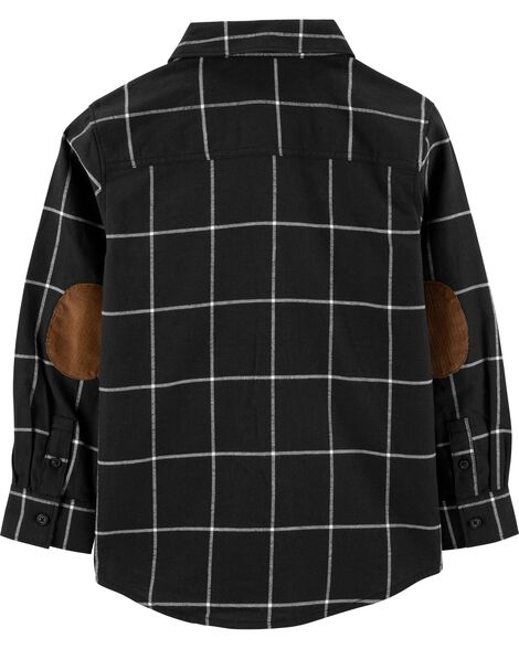 Checkered Twill Button-Front Shirt