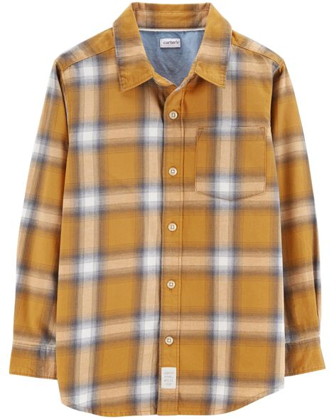 Plaid Twill Flannel Button-Front