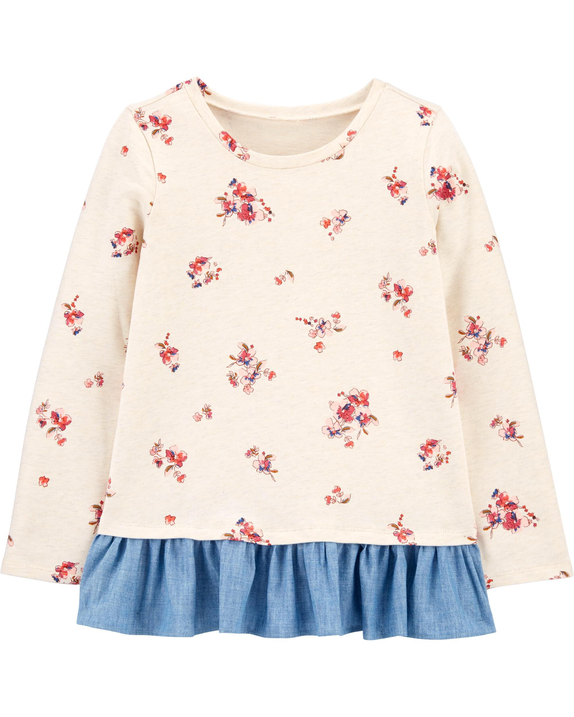 *CLEARANCE* Floral Ruffle-Hem Pullover