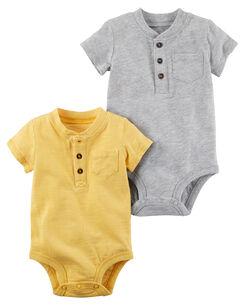2-Pack Henley Bodysuits